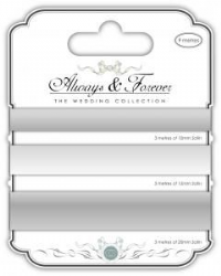 Satin Ribbon - Always & Forever - The Wedding Collection - Silver 3m of each size - 10mm,15mm & 20mm